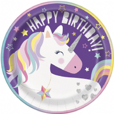 8 Happy Birthday Unicorn Paper Plates